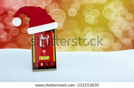one smartphone with an app for online gifts and a Christmas hat (3d render) - stock photo