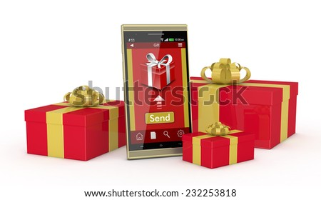 One smartphone with an app for online gifts and some gift boxes around it (3d render)