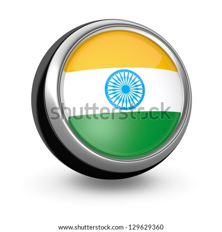 one sphere icon with the flag of India (3d render)