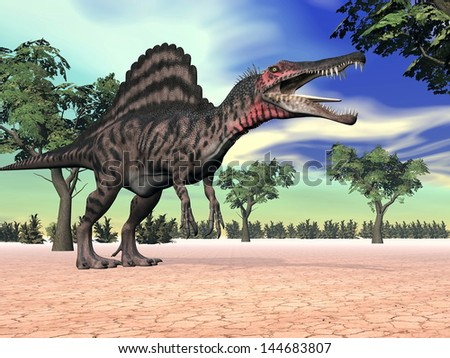 One spinosaurus standing in the desert with trees