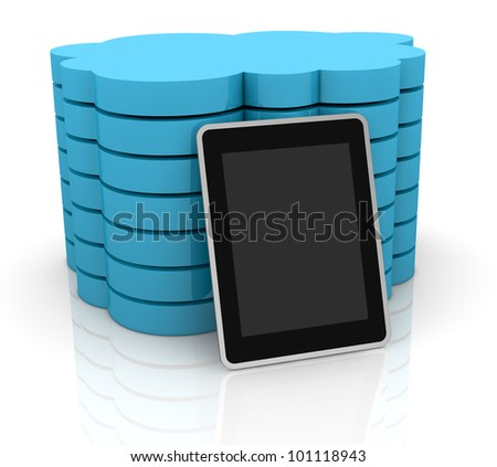 one stack of clouds with a tablet pc, concept of cloud computing and global access of data(3d render)