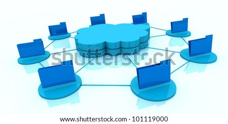 one stack of clouds with several folders around it and connected each other, concept of cloud computing and global access of data (3d render) - stock photo