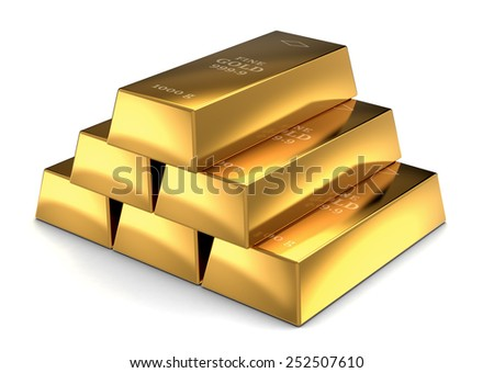 one stack of gold bars on white background (3d render) - stock photo