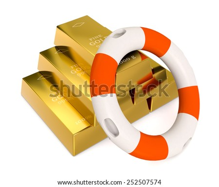 one stack of gold bars with a lifebelt, concept of protecting your investment (3d render) - stock photo