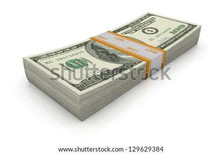 one stack of us dollars (3d render)