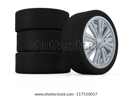 one stack of wheels with steel rims (3d render)