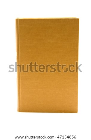 One standing brown book, you see the front with empty cover, isolated on white background