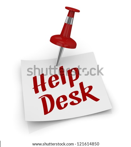 one sticky note with a pin and text: help desk (3d render) - stock photo