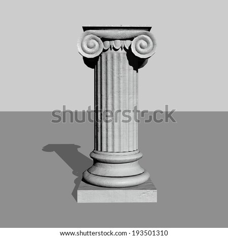 One stone column or pillar in grey background