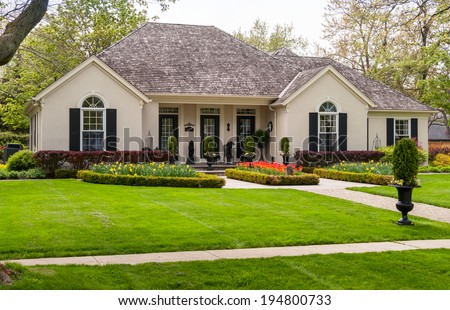 One storey house with a lawn and nice landscaping