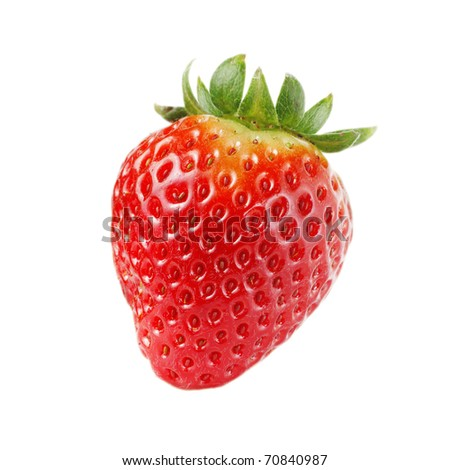 One strawberry, isolated on white - stock photo
