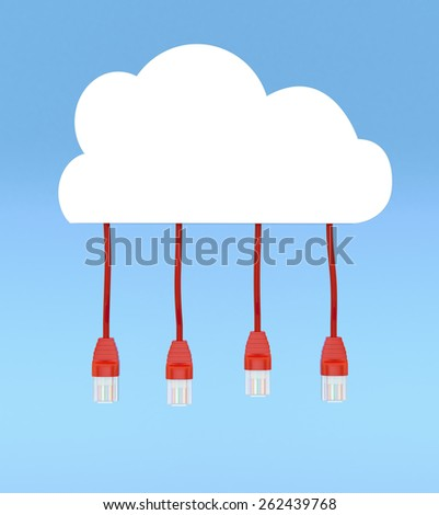 one stylized cloud with network cables connected to it, blue background (3d render) - stock photo
