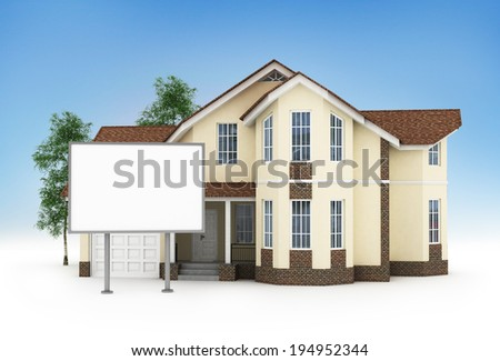 one stylized house with an empty signboard - stock photo