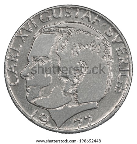 One Swedish Kronor coin closeup isolated on white background - stock photo