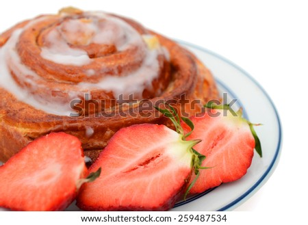 one sweet bread and strawberry sliced  - stock photo