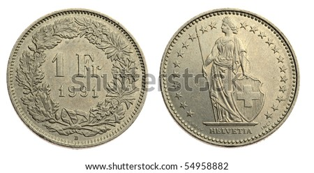 One Swiss franc coin isolated on white background - stock photo
