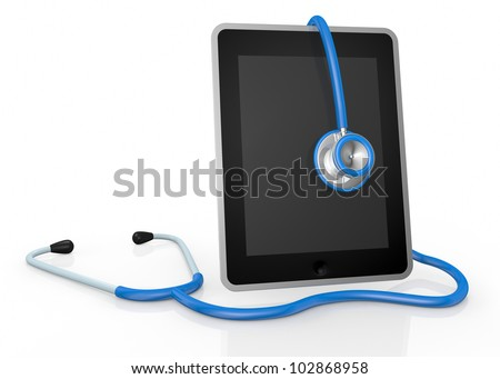 one tablet pc and a stethoscope; concept of computer repair or medical technologies (3d render) - stock photo
