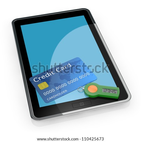 one tablet pc with a password generator for home banking and a credit card (3d render)