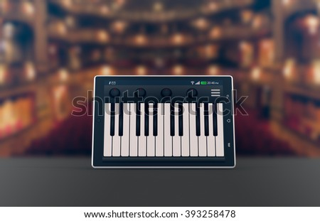 one tablet pc with a piano app on a theater stage, concept of music and technology (3d render)