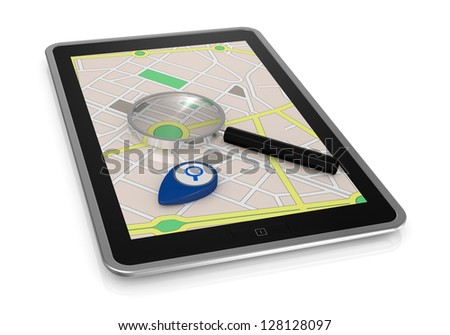 one tablet pc with gps map, a pointer and a magnifying glass (3d render)