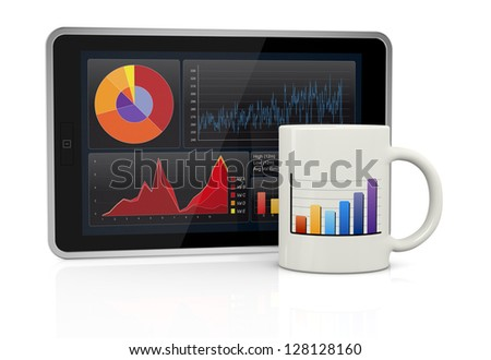 one tablet pc with stock market app and a coffee cup (3d render)