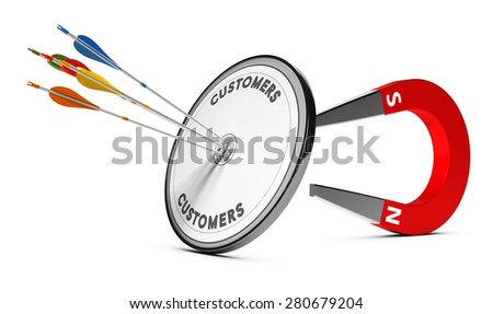 One target with many colorful arrows hitting the center with a horseshoe magnet at the background. Concept image suitable for inbound marketing purpose or winning new customers illustration. - stock photo
