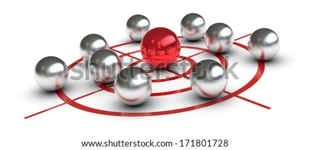 one target with some metal spheres. one of them is red colored and in the center, concept of challenge or leader (3d render) - stock photo