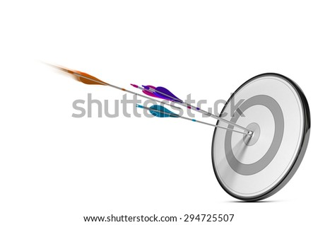 One target with three colorful arrows hitting the center. Concept image for illustration of successful Marketing strategy plan or advertising success.