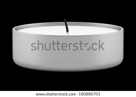 one tea light candle isolated on black background