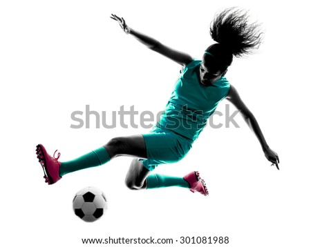 one teenager girl child  playing soccer player in silhouette isolated on white background - stock photo