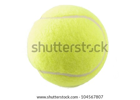 One tennis ball isolated on white background