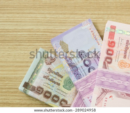one Thousand,five hundred,one hundred  thai banknotes .  money concept - stock photo