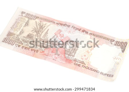 One thousand rupee note (Indian Currency) isolated on a white background - stock photo