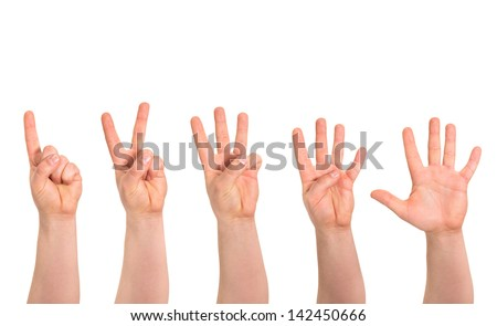 One to five fingers count signs as caucasian hand gesture isolated over white background