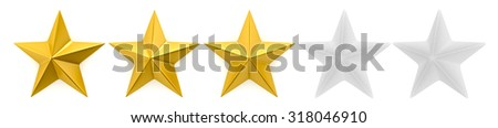 One to five star review - stock photo