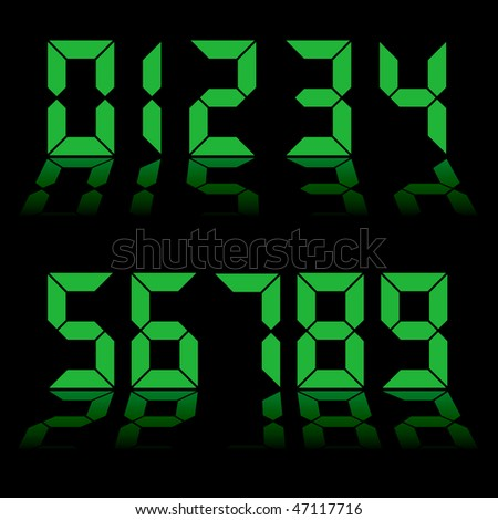 one to nine digital numbers in green with reflection in black background - stock photo