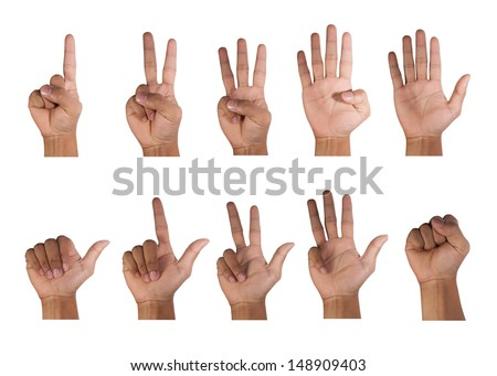 One to ten fingers count signs