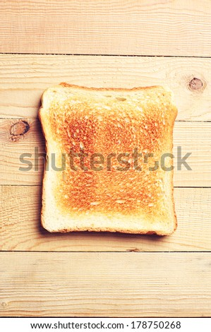 One toast bread top view - stock photo