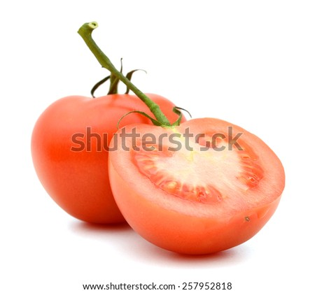 one tomato and a half on white background