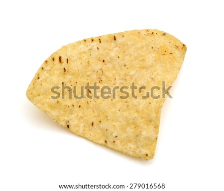 one tortilla chip on white background  - stock photo