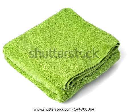 One towel on a white background - stock photo