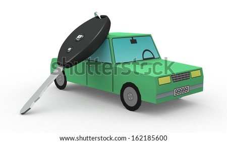 one toy car and a key (3d render) - stock photo