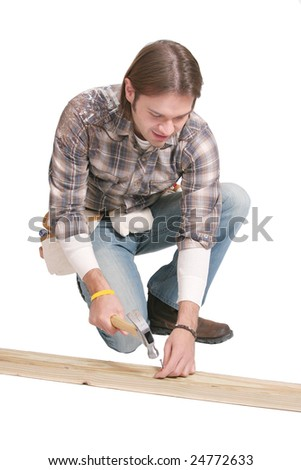 one twenties young man working construction labor with tools over white
