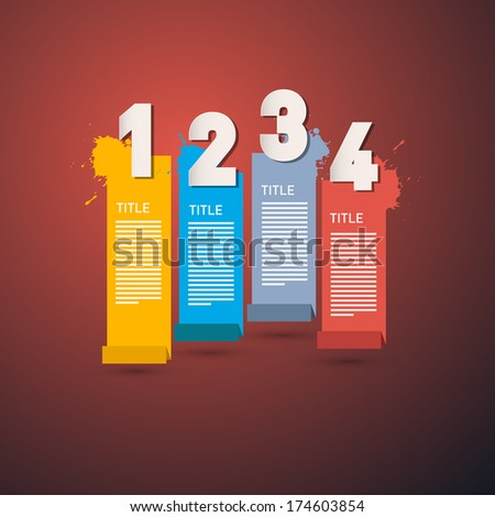 One, Two, Three, Four,  Paper Progress Steps for Tutorial, Infographics - Also Available in Vector Version - stock photo