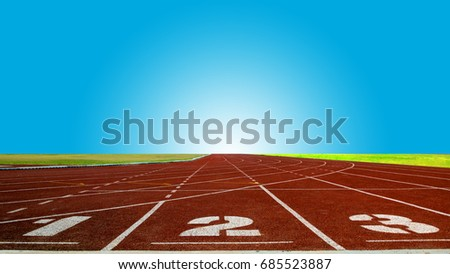 one two tree number, Athlete Track or Running Track, blue sky