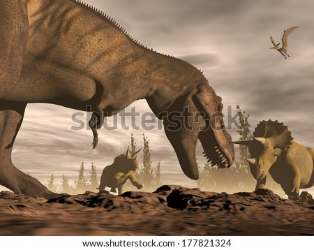 One tyrannosaurus roaring at two triceratops dinosaurs in landscape with trees by brown night - stock photo