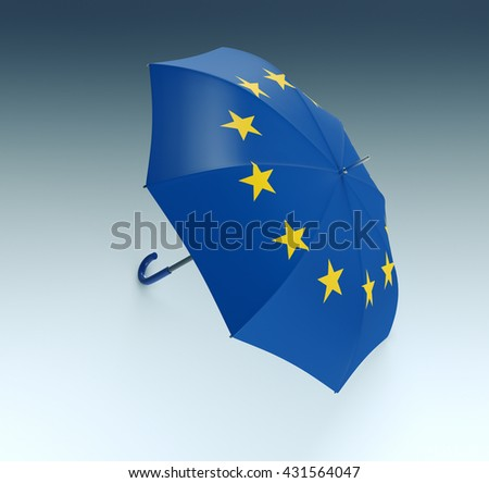 one umbrella made with the Europe flag (3d render)