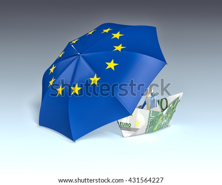one umbrella with the europe flag and a paper boat made with euro banknotes, concept of safety (3d render)