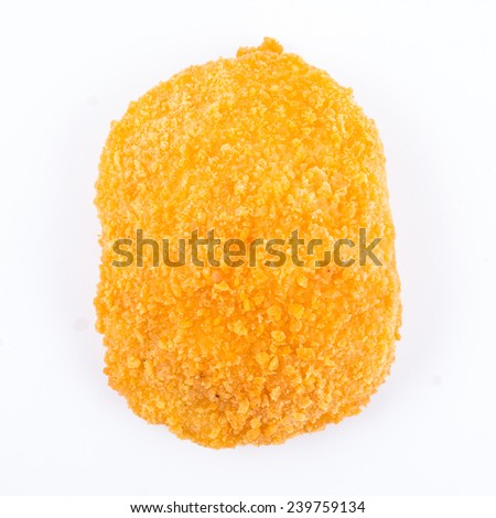 One uncooked cutlet isolated on white - stock photo