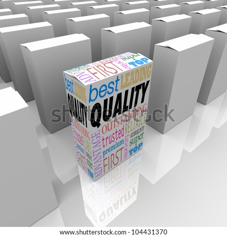 One unique box marked Quality stands out as better among many competing products, best of a crowded store shelf as the most reliable, trusted, effective and proven product - stock photo
